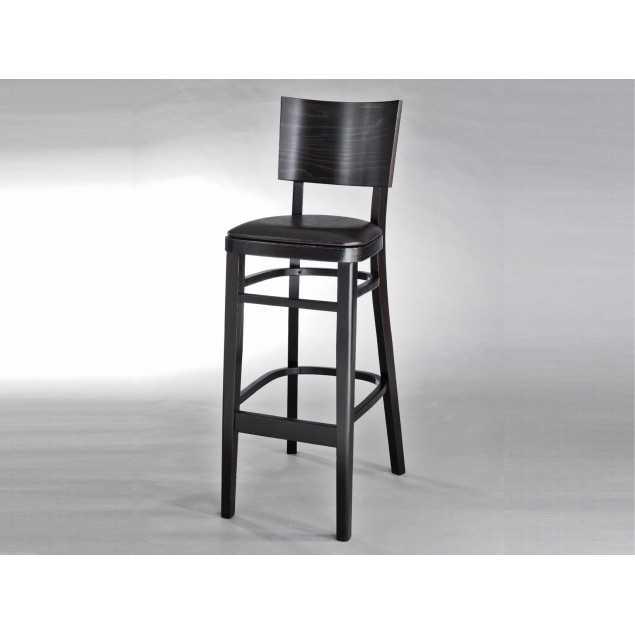Hnědá masivní barová židle s čalouněným sedákem Gastro
