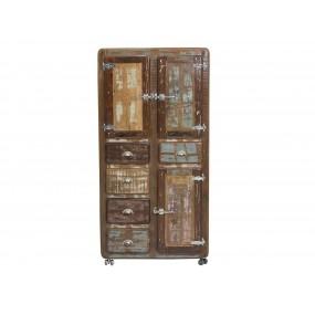 Rustikální barevná skříň Frankfurt z recyklovaného dřeva