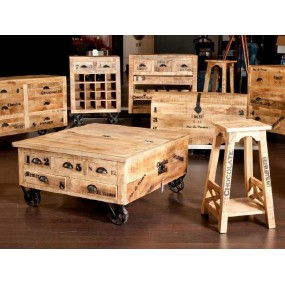 Starožitná komoda z mangového dřeva Rhein na kolečkách