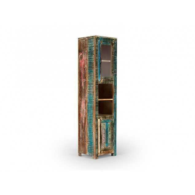 Vysoká skříňka z masivního manga, barevná skříňka do koupelny Oceania