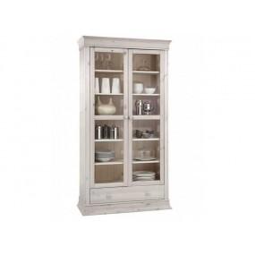Bílá vitrína z masivního dřeva Hancock 2dv