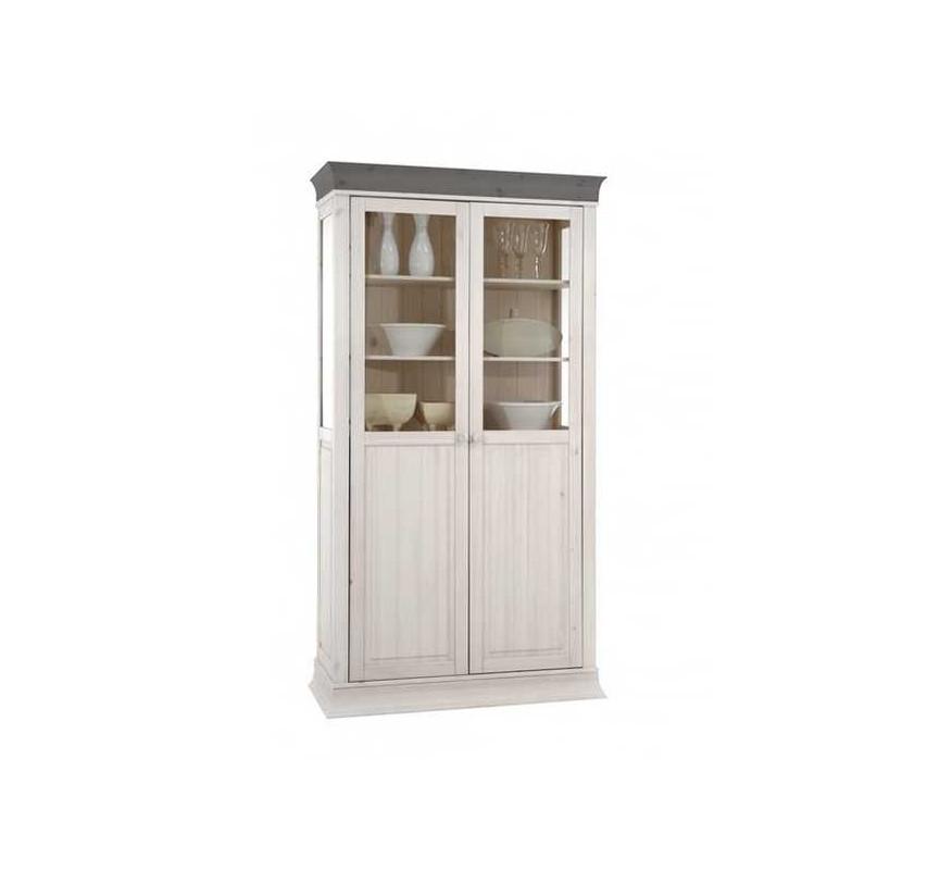 Bílá vitrína z borovicového dřeva Hancock