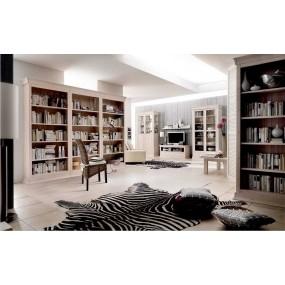 Bílá knihovna Hancock z masivní borovice
