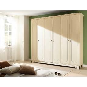 Bílá šatní skříň 6 dveřová Constantin
