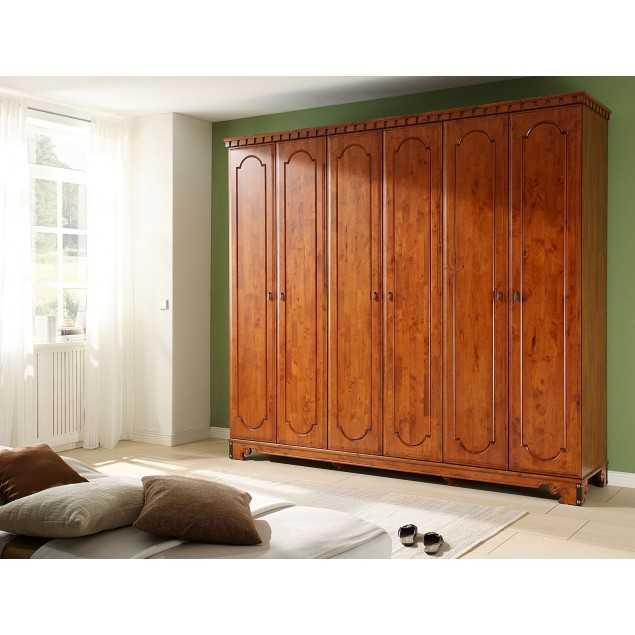 Masivní šatní skříň hnědá Constantin 6 dveřová