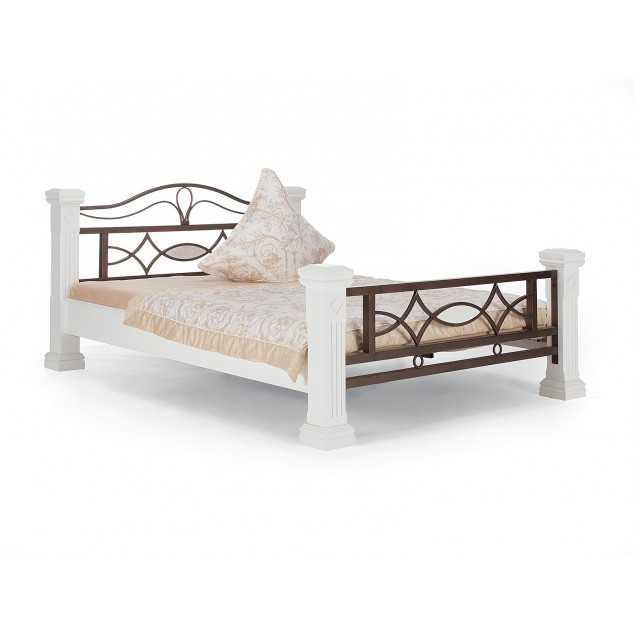 Bílá postel Constantin kaučukovník