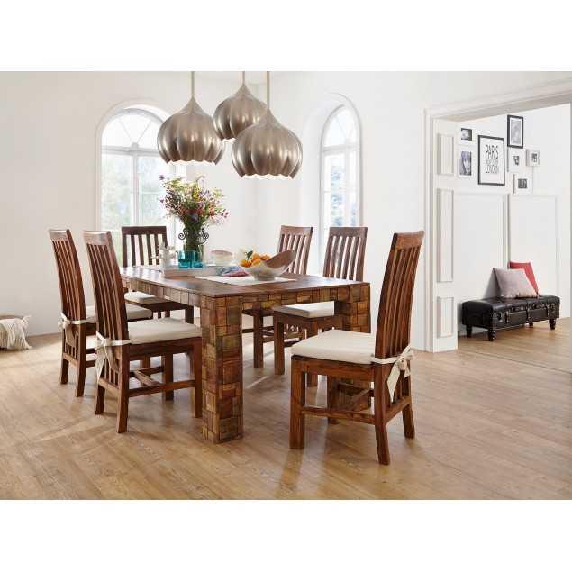 Masivní jídelní set Sierra - jídelní stůl a 6 židlí Santos
