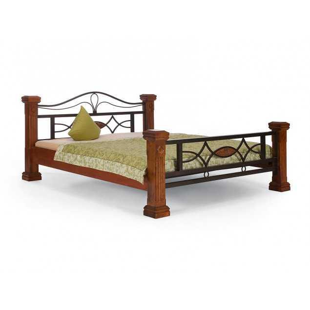 Hnědá postel Constantin kaučukovník