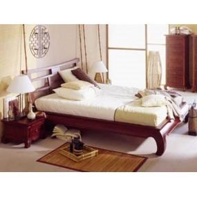 Hnědá asijská postel masivní borovice včetně čela  Fen China 180x200