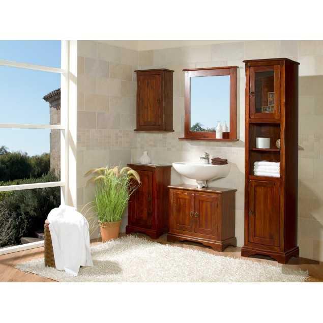 Hnědý koupelnový set Jodpur masivní borovice