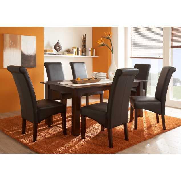 Masivní jídelní stůl s hnědými čalouněnými židlemi Logan