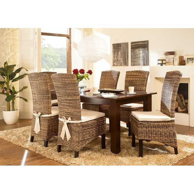 Koloniální stůl s ratanovými židlemi Nico Fineline