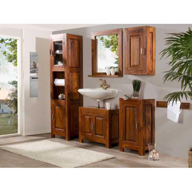 Hnědý koupelnový set z palisandru Squarus