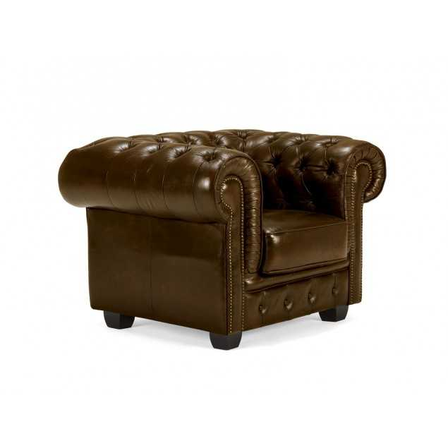 Luxusní kožené křeslo hnědé Chesterfield