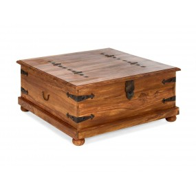 Dřevěný konferenční stolek a truhla hnědá Artus