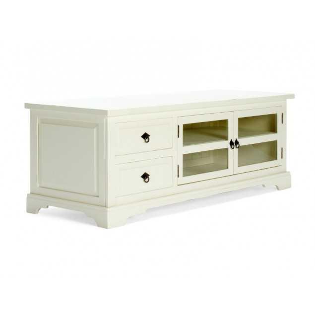 Bílý stolek pod televizi z masivní borovice Jodpur