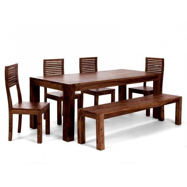 Jídelní stůl tmavý se 4 židlemi a lavicí Rosewood