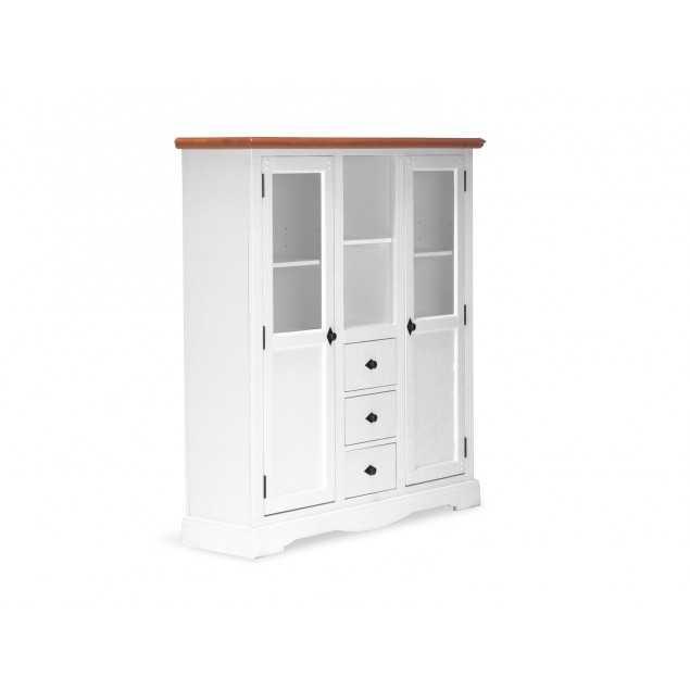 Vysoká dřevěná komoda Gotland bílý