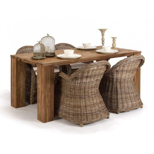 Masivní jídelní set se 4 ratanovými židlemi Casablanca
