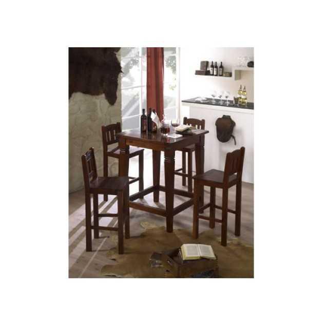 Hnědý barový stůl se 4 barovými židlemi Jodpur