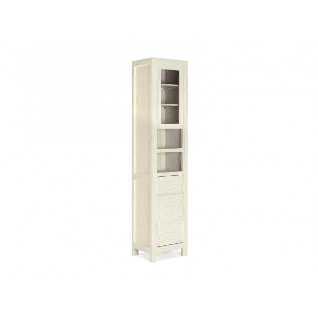 Vysoká skříňka do koupelny z borovice bílá Eufrat