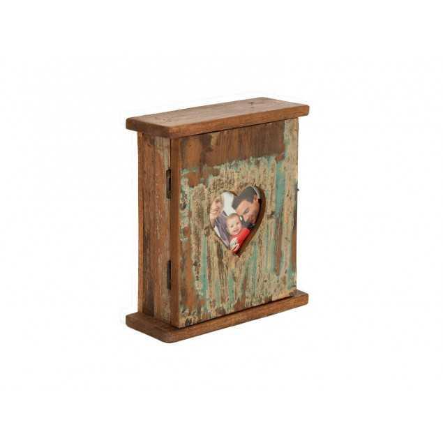 Skříňka na klíče srdce z masivního dřeva Agra