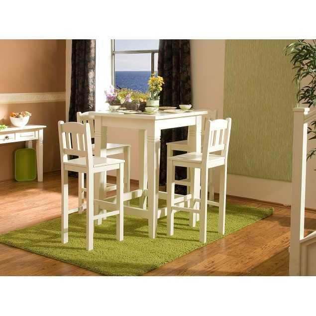 Bílý barový set - stůl se 4 židlemi
