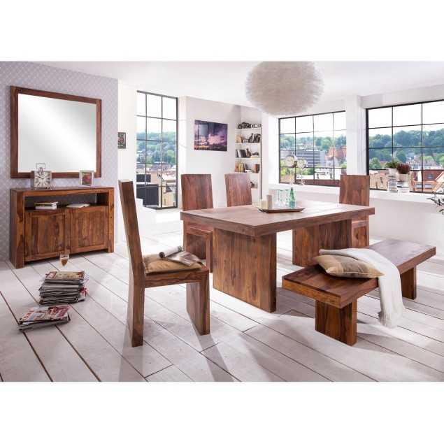 Masivní palisandrový set - medový stůl se židlemi Kánpur
