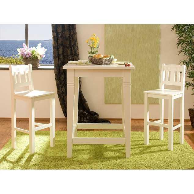 Bílý barový stolek se 2 židlemi Jodpur