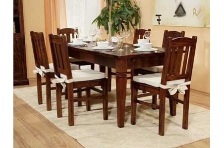 Masivní jídelní stůl s hnědými židlemi Jodpur