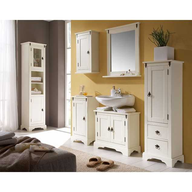 Bílý koupelnový nábytek set 5 ks Jodpur