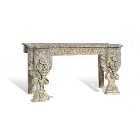 Dřevěná konzole bílá patina India
