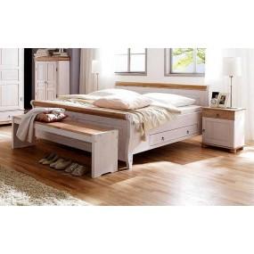 Masivní postel s úložným prostorem z borovice Harald