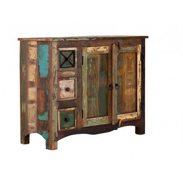 Starožitná barevná komoda Cross z teakového dřeva