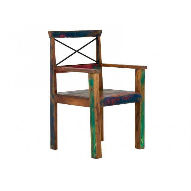 Masivní dřevěná židle s opěrkami Cross barevná