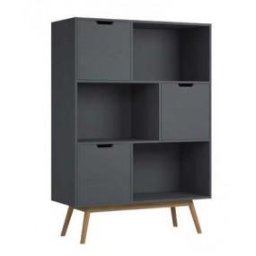 Dřevěná knihovna šedá Van