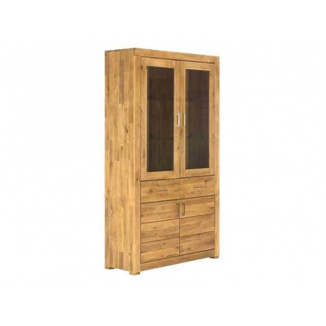 Masivní vitrína hnědá dubové dřevo Easthill