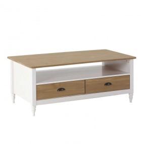 Bílý konferenční stolek Irelia masivní borovice