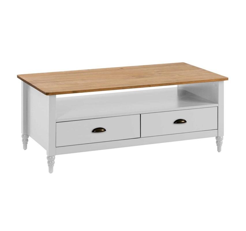 Bílý TV stolek se 2 šuplíky Irelia