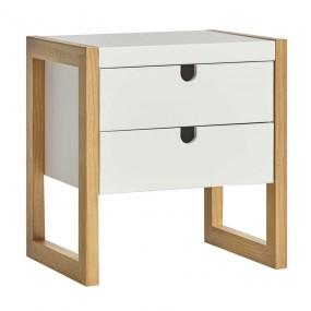 Noční stolek z borovice Dorito - bílý