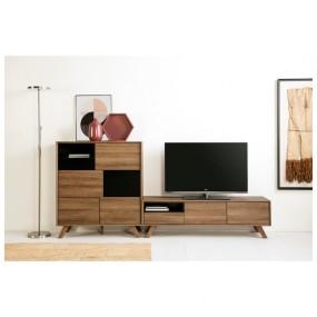Televizní stolek s černými detaily Marckeric Tivoli, 150 x 45 cm