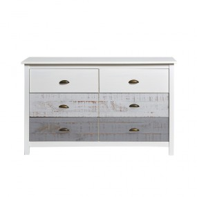 Bílo-šedá komoda se 6 šuplíky Marckeric Romantica, 130 x 80 cm