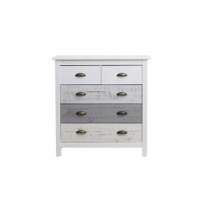 Bílo-šedá komoda se 4 šuplíky Marckeric Romantica, 79 x 80 cm