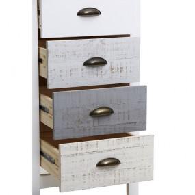 Vysoká bílo-šedá komoda se 4 šuplíky Marckeric Romantica, 46 x 80 cm
