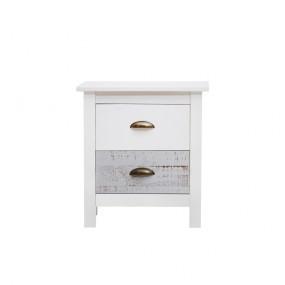 Bílo-šedý noční stolek Marckeric Romantica, 46 x 50 cm