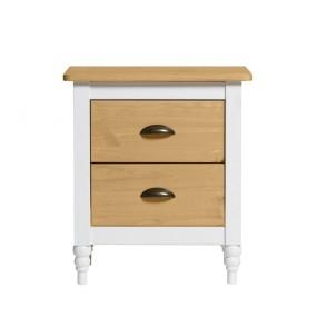 Bílý noční stolek z masivního borovicového dřeva se 2 zásuvkami Marckeric Iryna