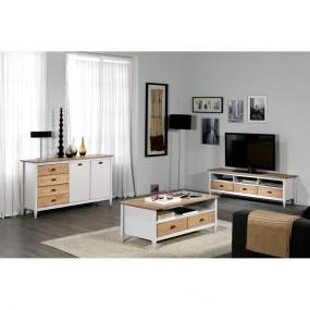 Bílá TV komoda z masivního borovicového dřeva se 3 zásuvkami Marckeric Iryna