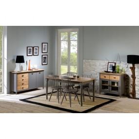 Šedý jídelní stůl z masivního borovicového dřeva Marckeric Iryna, 150 x 85 cm