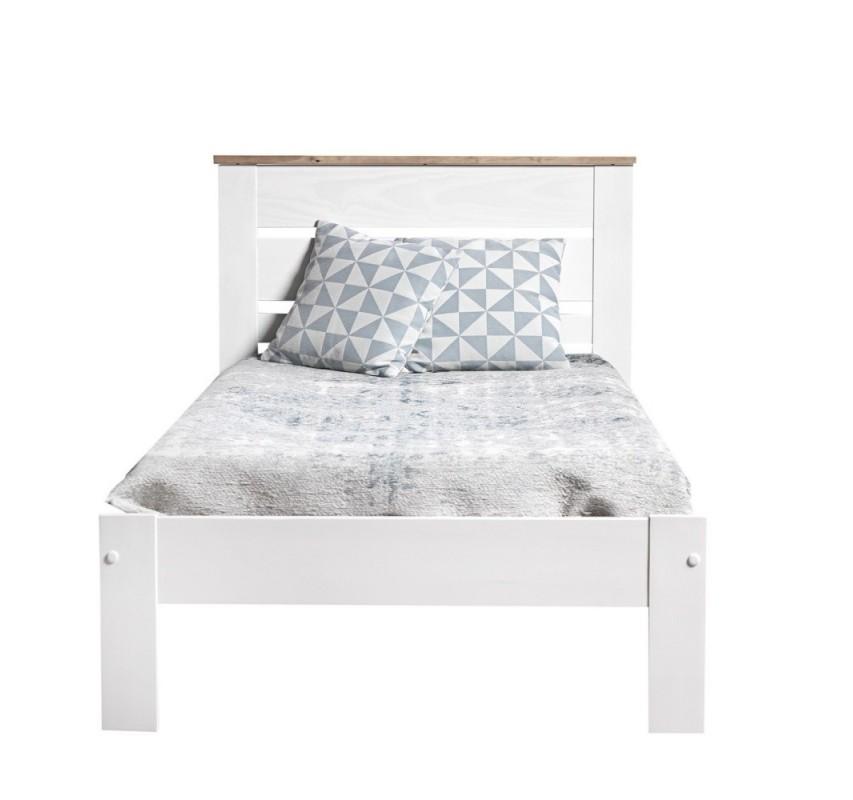 Dřevěná postel z borovice Jayde bílá