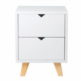 Bílý noční stolek se 2 zásuvkami Marckeric Gaudi
